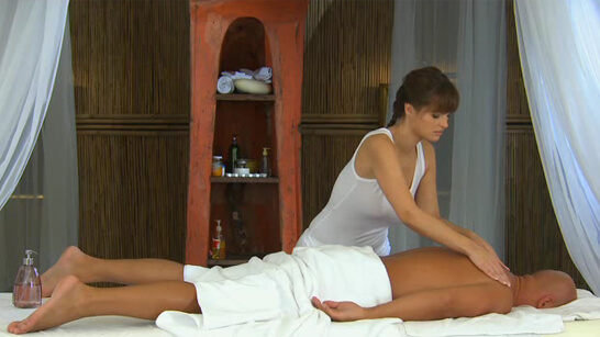 Sexy masseuse riding her client